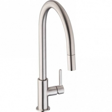 Abode Althia Brushed Steel Pull Out Rinser Kitchen Sink Mixer Tap AT1261
