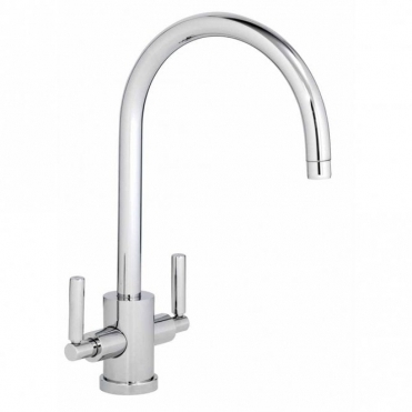 Abode Atlas Chrome Monobloc Twin Lever Kitchen Sink Mixer Tap AT1053