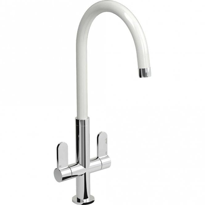 Abode Linear White Chrome Twin Lever Kitchen Sink Mixer Tap At1214