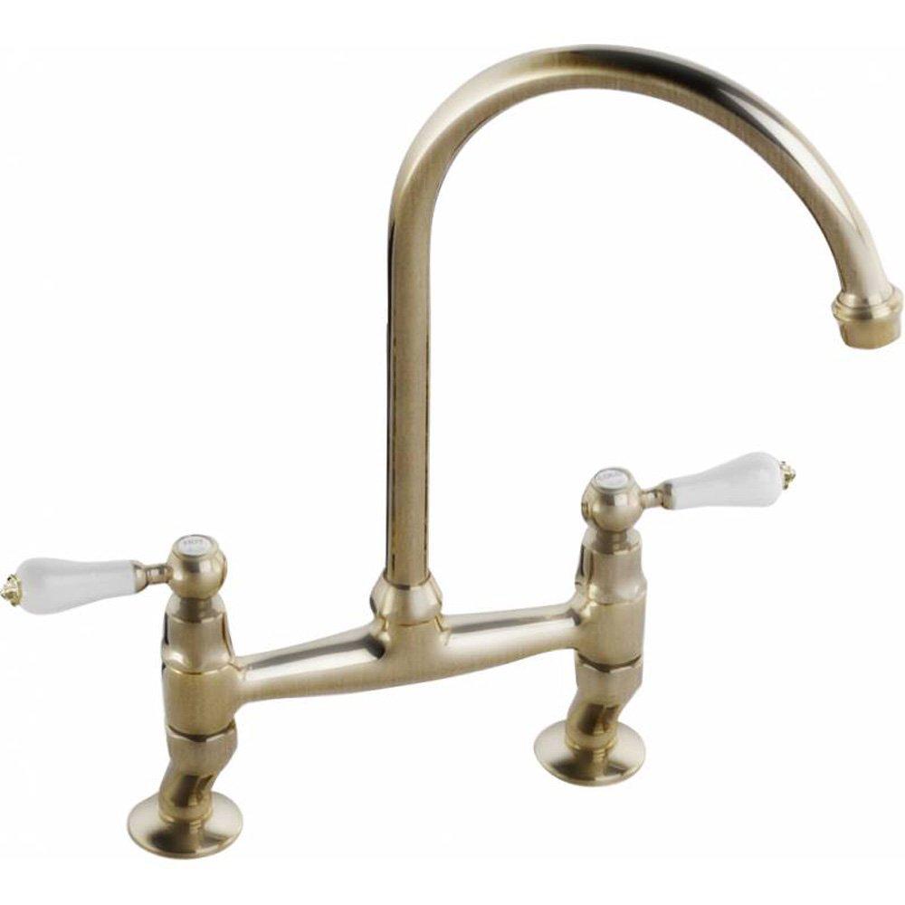 Abode Ludlow Antique Bronze Bridge Kitchen Sink Mixer Tap AT - Kitchen sink taps uk