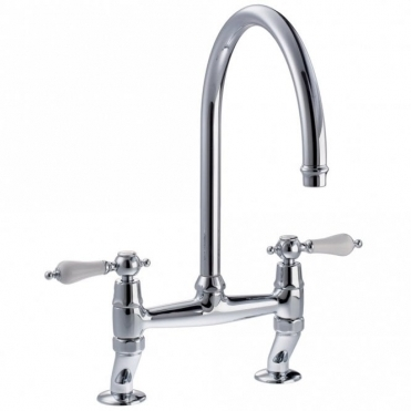 Abode Ludlow Chrome Twin Lever Bridge Kitchen Sink Mixer Tap AT1029