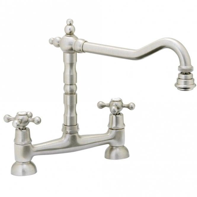 Abode Melford Brushed Nickel Bridge Kitchen Sink Mixer Tap At1048