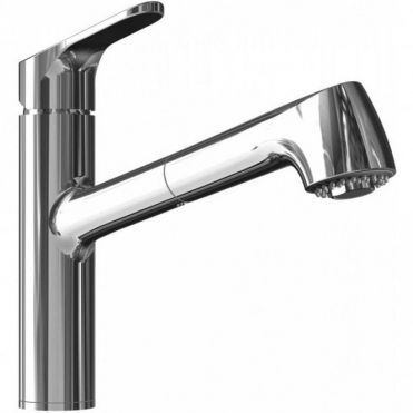 Abode Mercury Chrome Single Lever Pull Out Rinser Kitchen Sink Mixer Tap AT1267