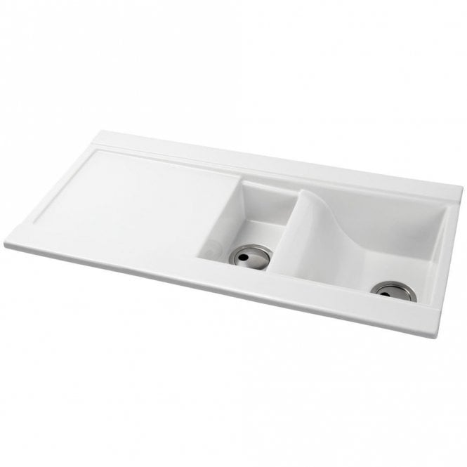 Abode Tydal 1.5 Bowl White Ceramic Kitchen Sink & Drainer AW1004 ...