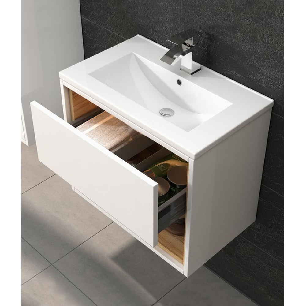 Arizona 600mm wall hung black gloss basin vanity unit side cabinet - White Gloss Bathroom Cabinets Furniture