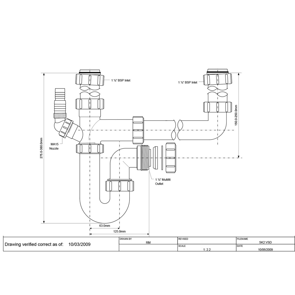 Astini 1 5 2 0 Bowl Kitchen Sink Plumbing Kit With Appliance Connection Sk2
