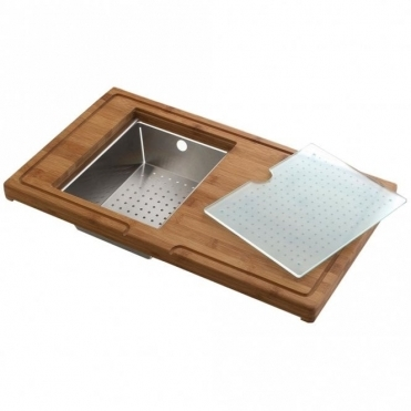 Astini 3pc Kitchen Sink Preparation Station Inc. Chopping Board Colander & Glass Platter
