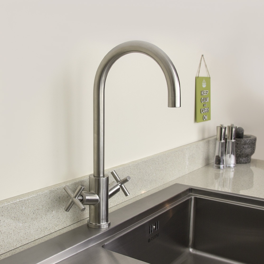 ... Arrigo Brushed Stainless Steel Twin Handle Kitchen Sink Mixer Tap HK71