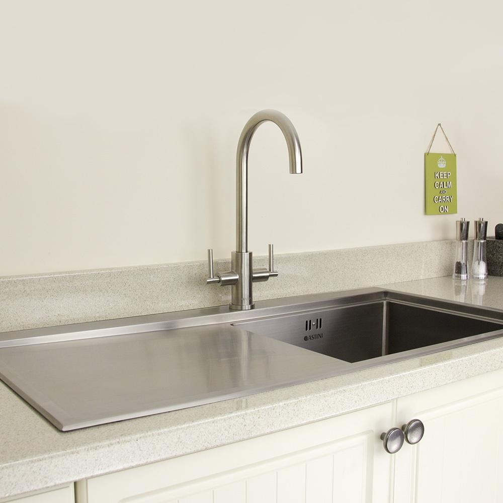 Twin Kitchen Sink : ... Baldo Brushed Stainless Steel Twin Handle Kitchen Sink Mixer Tap HK72