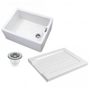 Astini Belfast 100 1.0 Bowl White Ceramic Kitchen Sink, Drainer & Strainer Waste