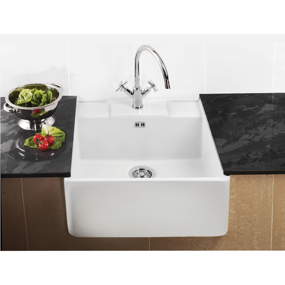 Ceramic Kitchen Sink : Astini Belfast 590 1.0 Bowl White Ceramic Kitchen Sink & Waste