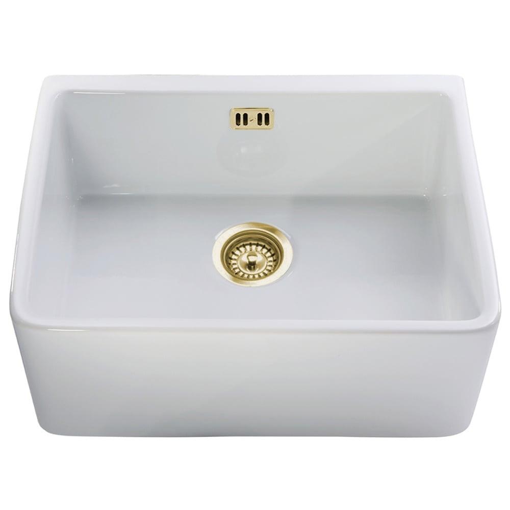 Astini belfast 600 1 0 bowl white ceramic kitchen sink gold waste