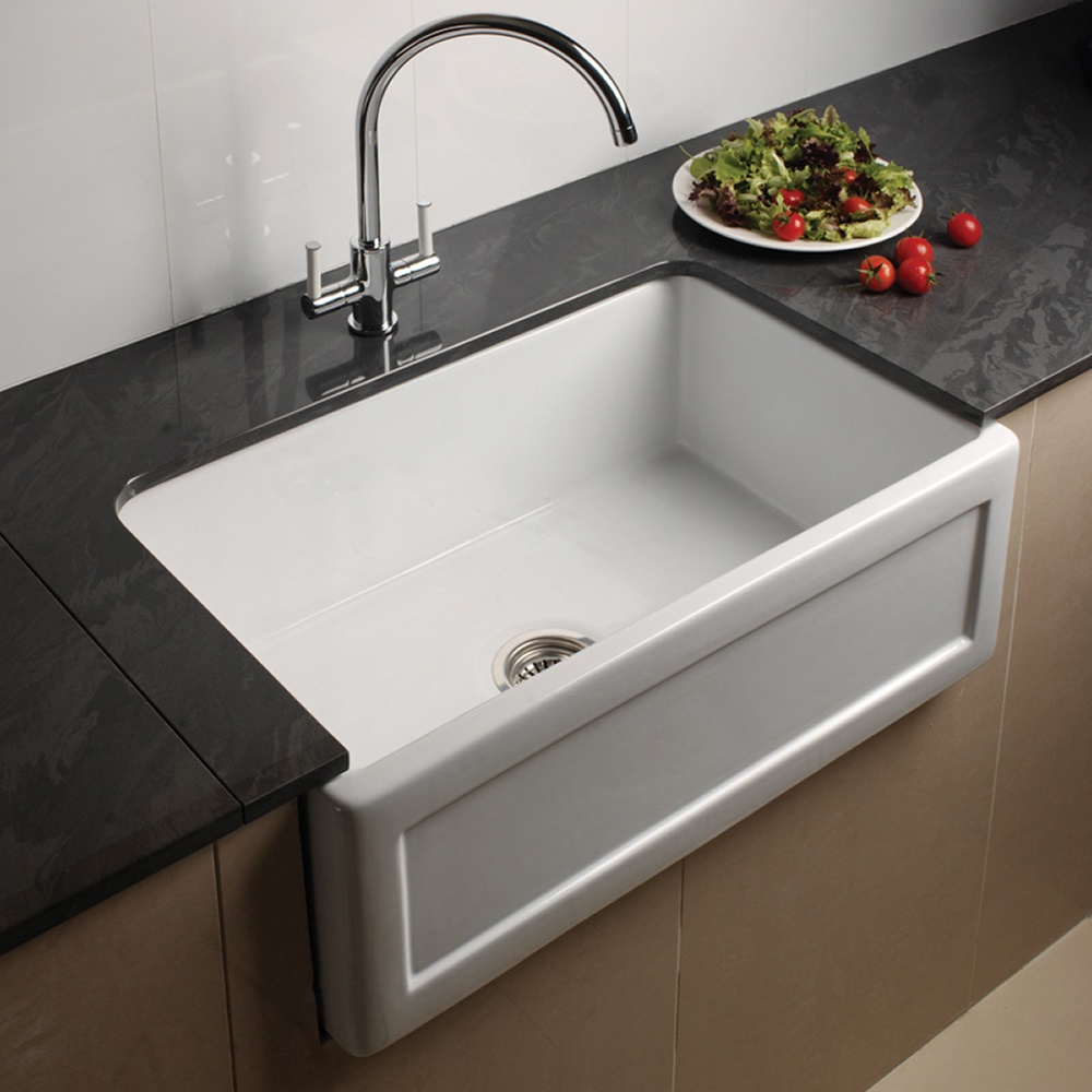Ceramic Kitchen Sink : ... Bowl Recessed White Ceramic Kitchen Sink & Waste - Astini from TAPS UK
