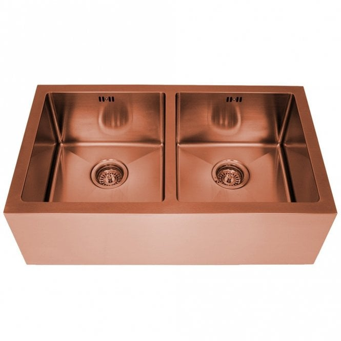 Astini Belfast 800 2 0 Bowl Copper Brushed Stainless Steel Kitchen Sink Waste