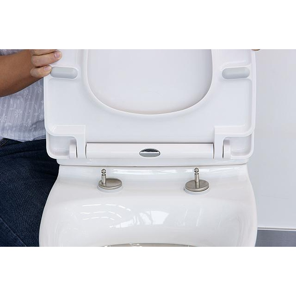Astini Black Universal Soft Close Toilet Seat With Stainless Steel Hinges A