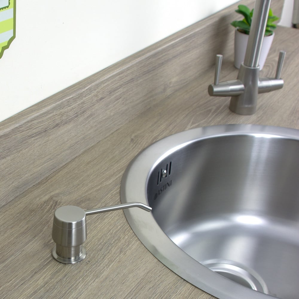 Astini Brushed Steel 270ml Integrated Kitchen Sink Soap Dispenser 201 Bn