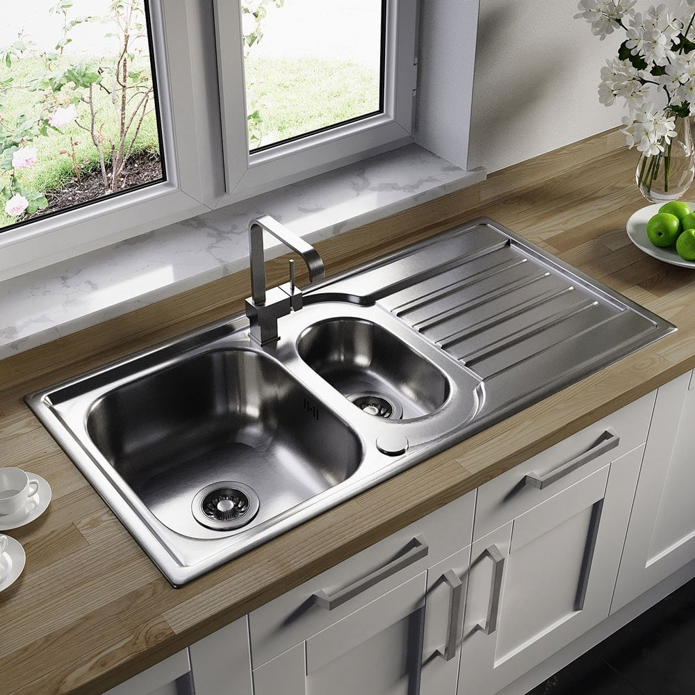 Astini Cagliari 1 5 Bowl Brushed Stainless Steel Kitchen Sink Waste Kitchen From Taps Uk
