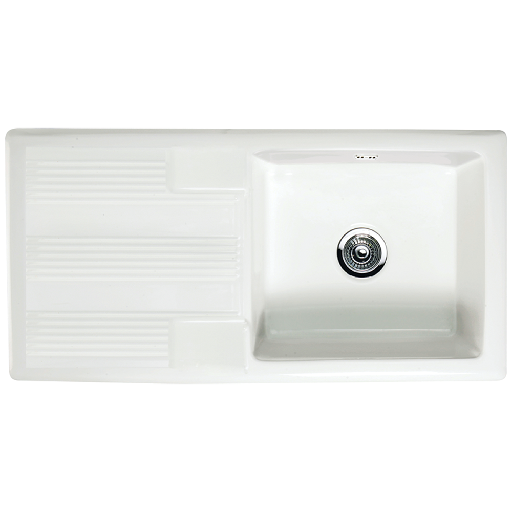 Kitchen sink top view png - Astini Canterbury 100 1 0 Bowl Gloss White Ceramic Kitchen Sink Waste