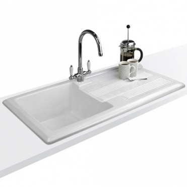 Astini Canterbury 100 Bowl Gloss White Ceramic Kitchen Sink & Colonial Tap
