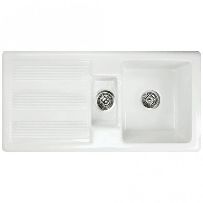 Astini Canterbury 150 1.5 Bowl Gloss White Ceramic Kitchen Sink ...
