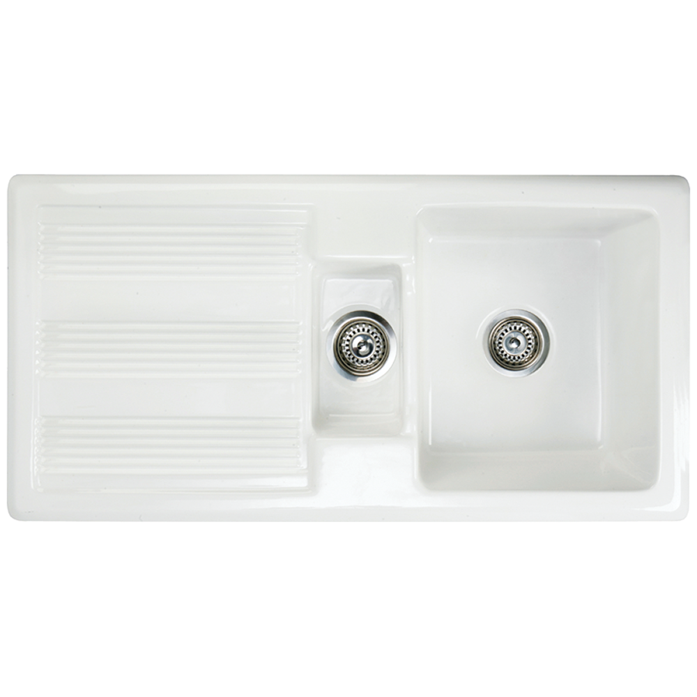 Kitchen sink top view png - Astini Canterbury 150 1 5 Bowl Gloss White Ceramic Kitchen Sink Waste