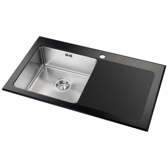astini celso 1 0 bowl black glass kitchen sink as104blkr astini rh tapsuk com glass kitchen sinks uk glass kitchen sinks reviews
