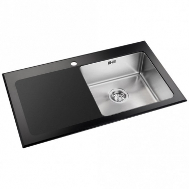 Astini Celso 1.0 Bowl Black Glass Kitchen Sink AS104BLKL