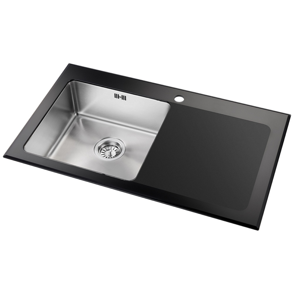 Astini Celso 1 0 Bowl Black Glass Kitchen Sink AS104BLKR