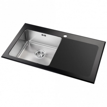 Astini Celso 1.0 Bowl Black Glass Kitchen Sink AS104BLKR