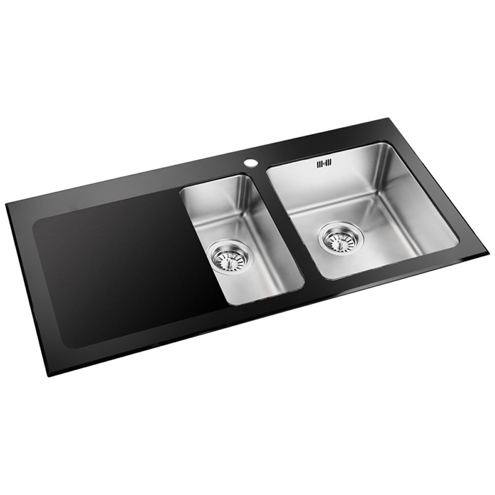 Black Kitchen Sink : Astini Celso 1.5 Bowl Black Glass Kitchen Sink AS103BLKL - Astini from ...