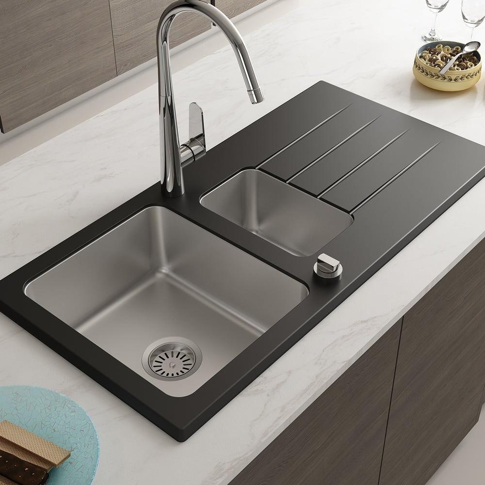Astini Celso 1 5 Bowl Black Glass Stainless Steel Reversible Kitchen Sink