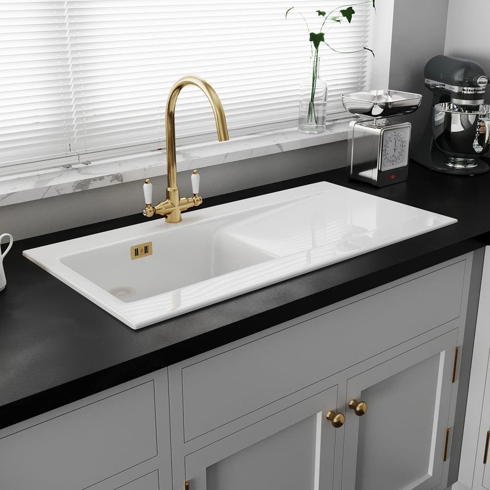 Astini Desire 100 1 0 Bowl Gloss White Ceramic Kitchen Sink Gold Waste Kitchen From Taps Uk