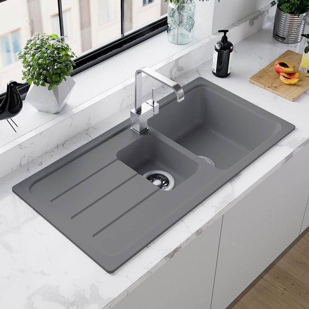 Astini Elmo 150 1 5 Bowl Granite Croma Grey Reversible Kitchen Sink Waste