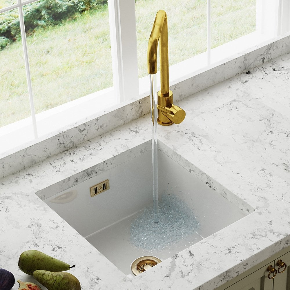 Astini Hampton 100 1 0 Bowl White Ceramic Undermount Kitchen Sink Gold Waste Kitchen From Taps Uk