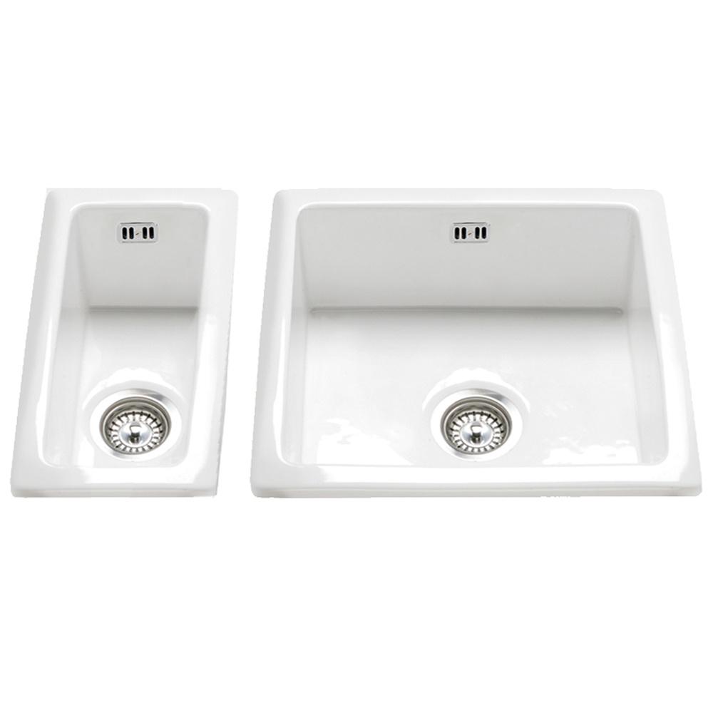 ... Hampton 150 1.5 Bowl White Ceramic Undermount Kitchen Sink & Waste Set