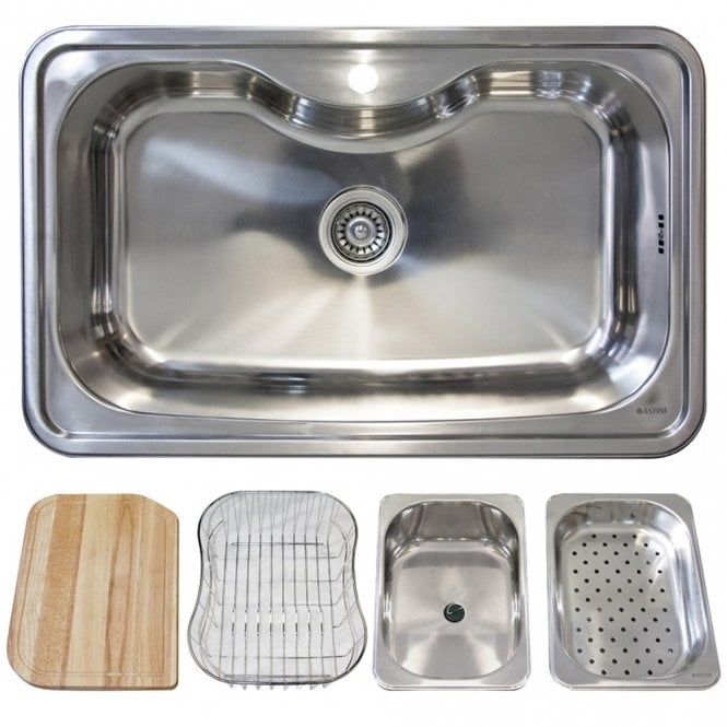 Stainless Kitchen Sink | Astini Lugano 1 0 Bowl Polished Stainless Steel Kitchen Sink