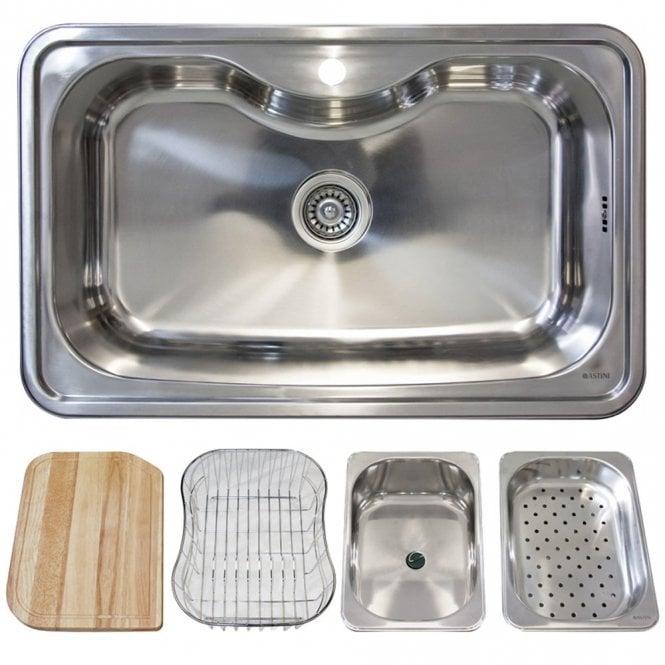 Astini Lugano 1.0 Bowl Polished Stainless Steel Kitchen Sink ...