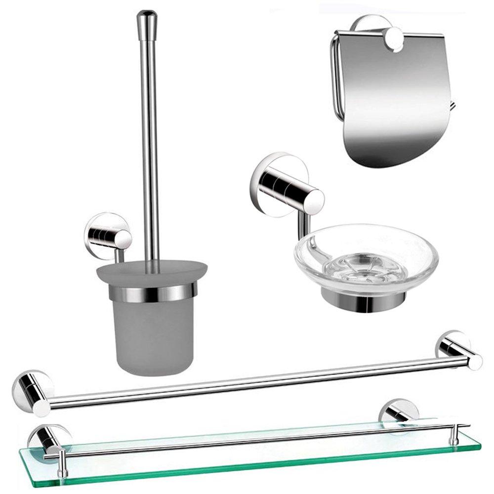 astini milan chrome 5pc bathroom accessories set astini
