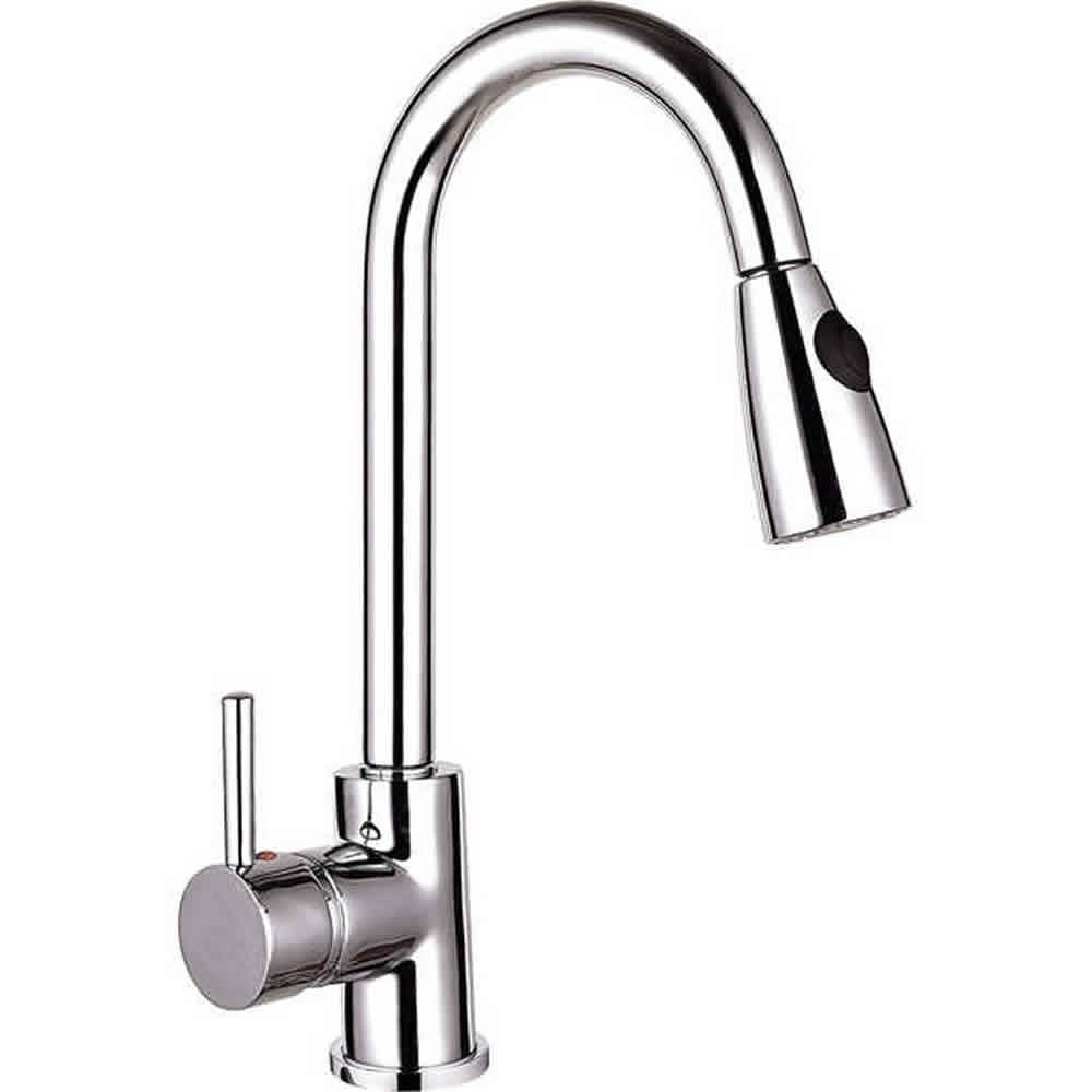Spring Pull Out Kitchen Sink Mixer Tap Single Handle Lever Chrome ...