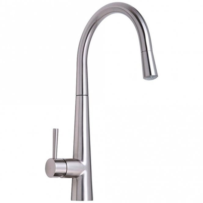 Astini Palazzo Brushed Steel Pullout Rinser Led Kitchen Sink Mixer Tap Hk86