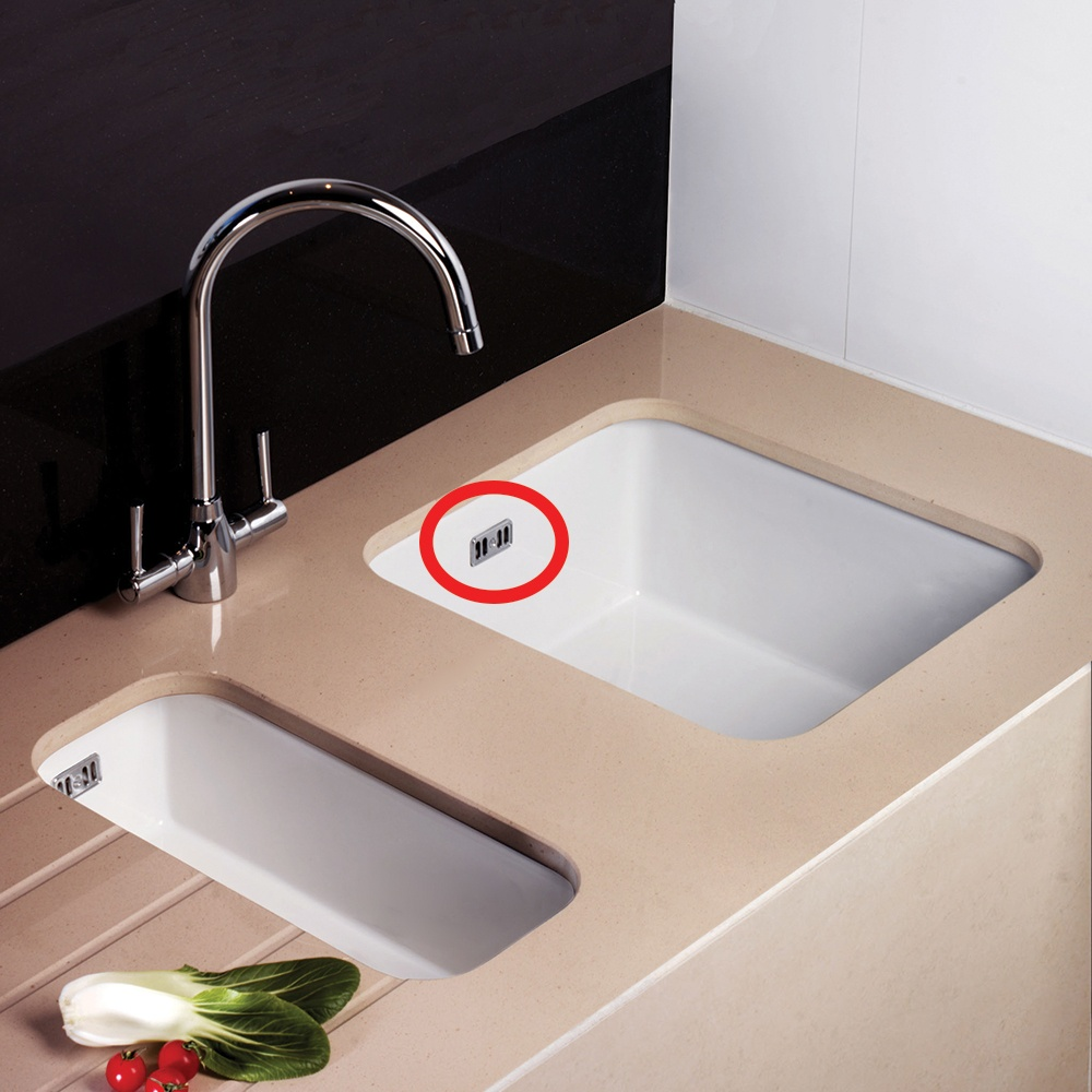 Astini Rak Rangemaster Caple Chrome Square Ceramic Sink Overflow Cover Plate