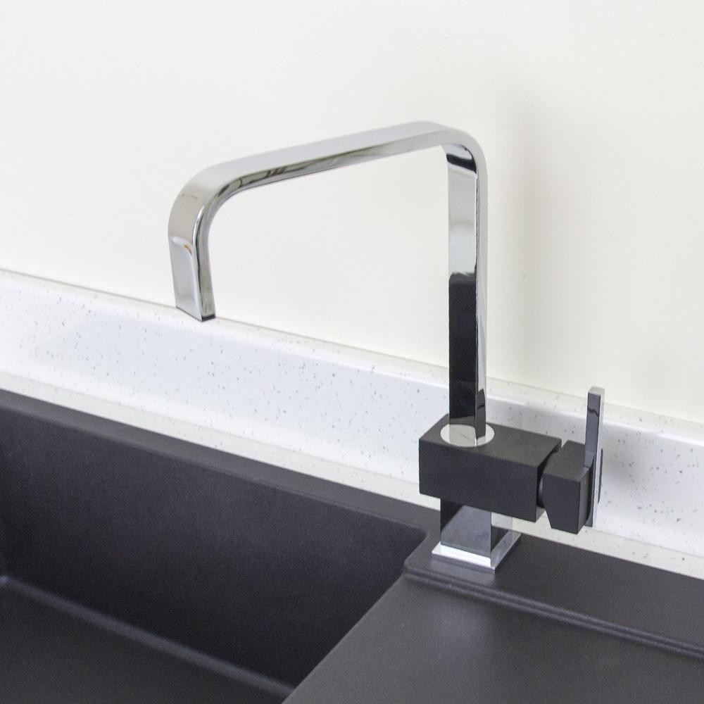 Black kitchen sinks and taps - Astini Rubicon Chrome U0026 Black Single Lever Kitchen Sink Mixer Tap Hk63