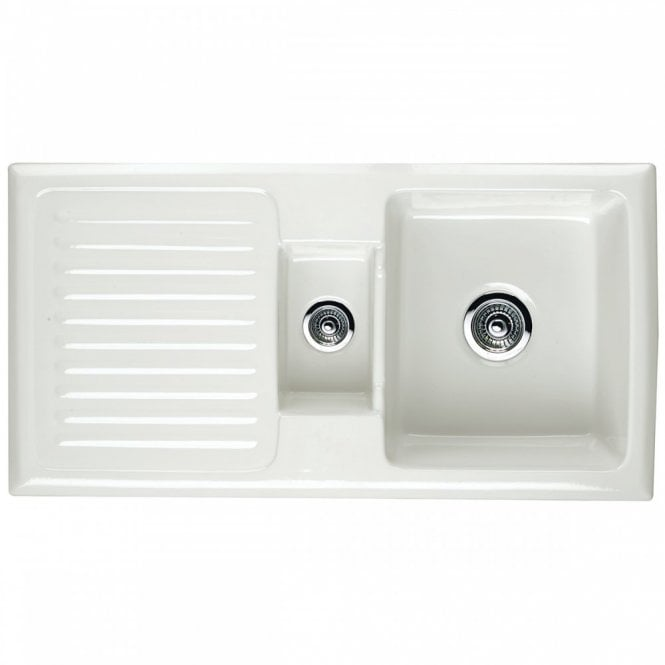 Astini Rustique 150 15 Bowl White Ceramic Kitchen Sink Chrome
