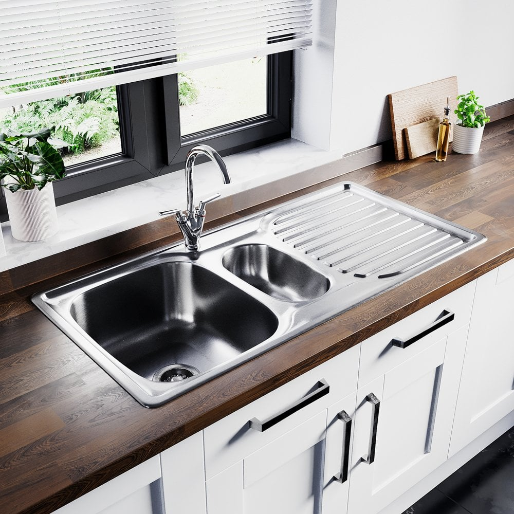 Astini Velia 1 5 Bowl Brushed Stainless Steel Kitchen Sink Waste As1360 Kitchen From Taps Uk