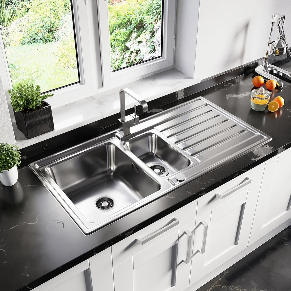 Astini Vicenza 1 5 Bowl Brushed Stainless Steel Kitchen Sink Waste As5360 Kitchen From Taps Uk