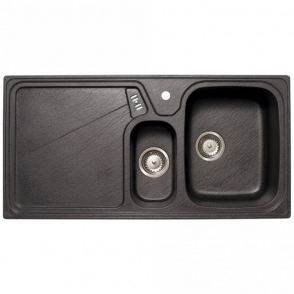 Astini Vitale 1.5 Bowl Granite Black Kitchen Sink & Waste LHD LU15RZUTMISKL
