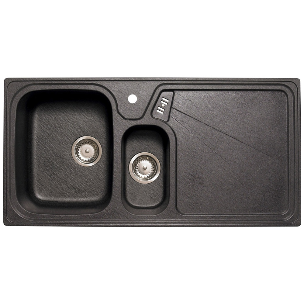 astini vitale 1 5 bowl granite black kitchen sink waste