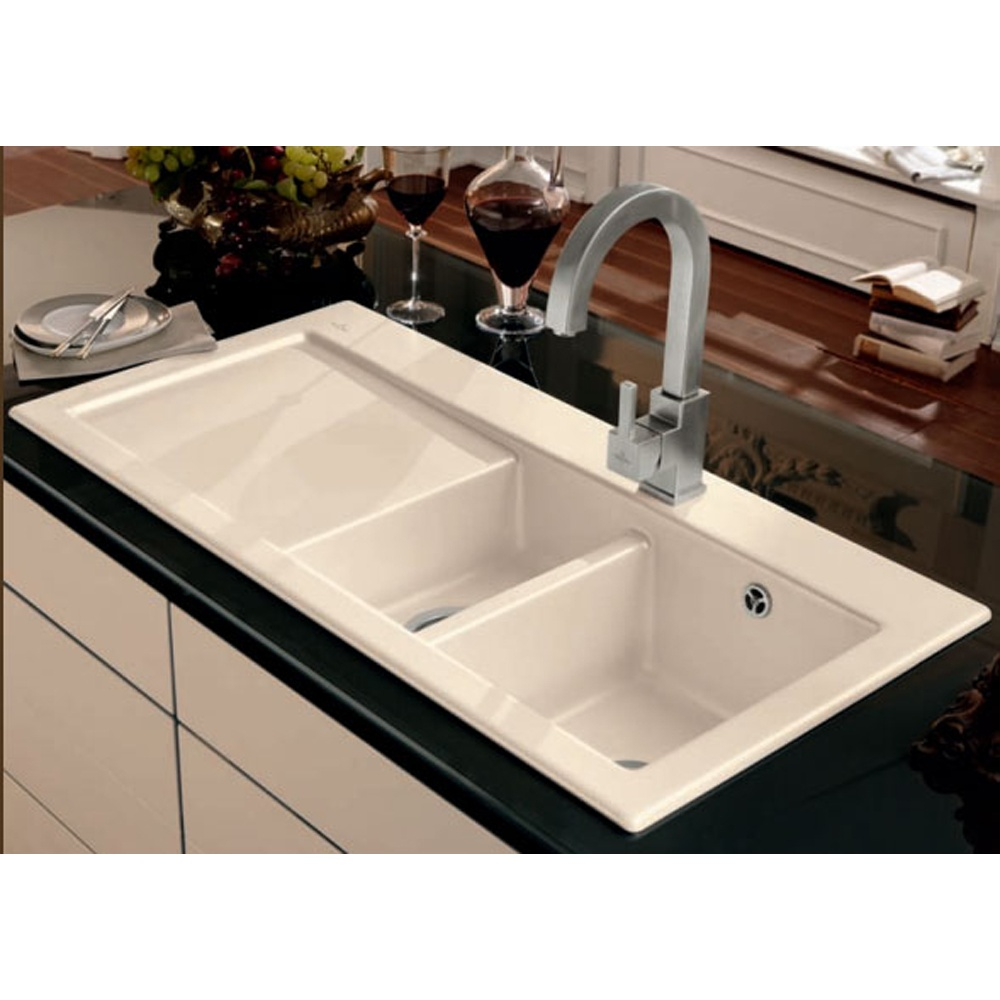 Large White Kitchen Sink : ... All 1.5 Bowl Ceramic Sinks ? View All Astini 1.5 Bowl Ceramic Sinks