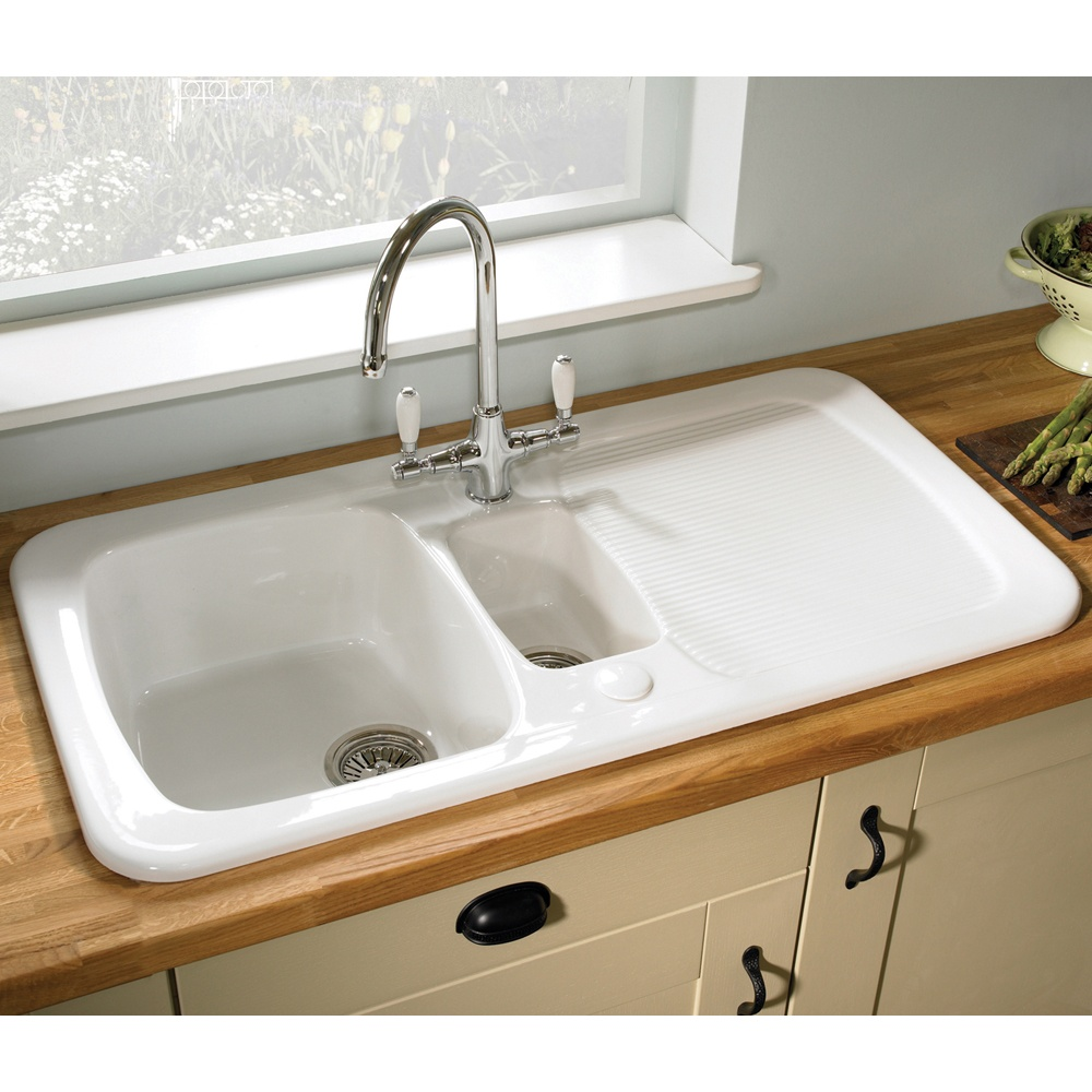 astracast aquitaine 15 bowl gloss white reversible ceramic kitchen sink waste p1341 77497 image