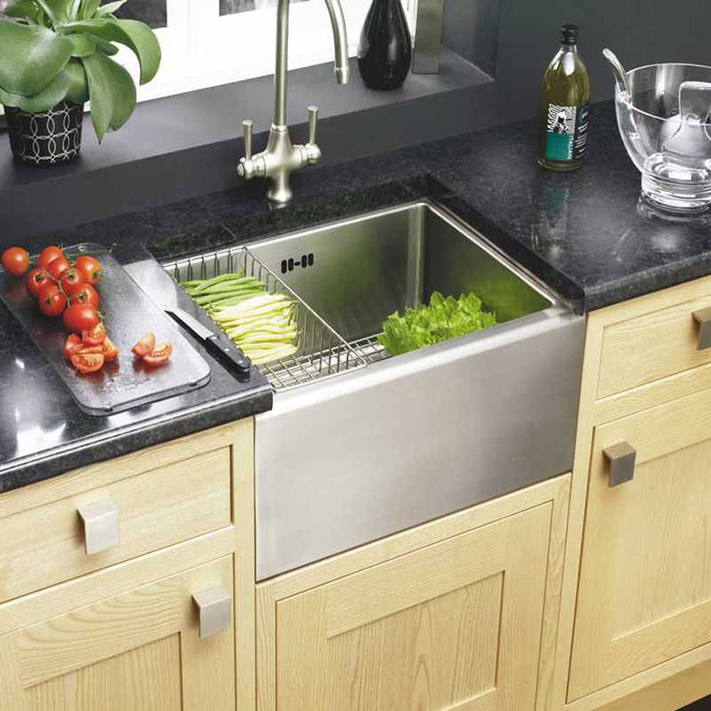 astracast belfast 10 bowl brushed stainless steel kitchen sink waste grid - Brushed Steel Kitchen Sinks